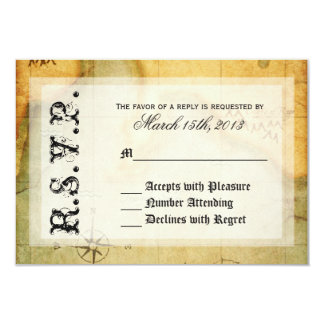 Pirates Party RSVP on Antique Map Card