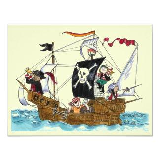 "PIRATES PARTY THEME SHIP SAILS JR FLAG INVITATION 4.25"" X 5.5"" INVITATION CARD"