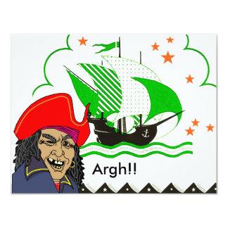 PIRATES PARTY THEME SHIP SET SAILS FLAG INVITATION