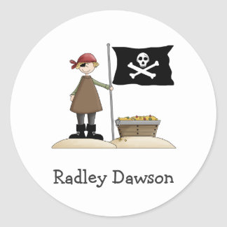 Pirates · Pirate, Flag & Treasure Classic Round Sticker