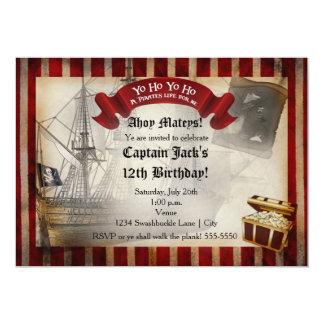 Pirates Ship Grunge Birthday Party Invitation