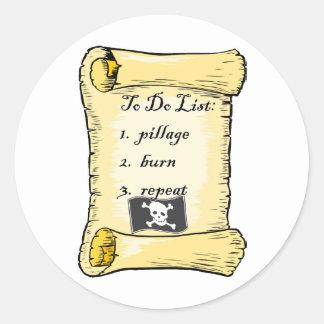 Pirate's To Do List Classic Round Sticker