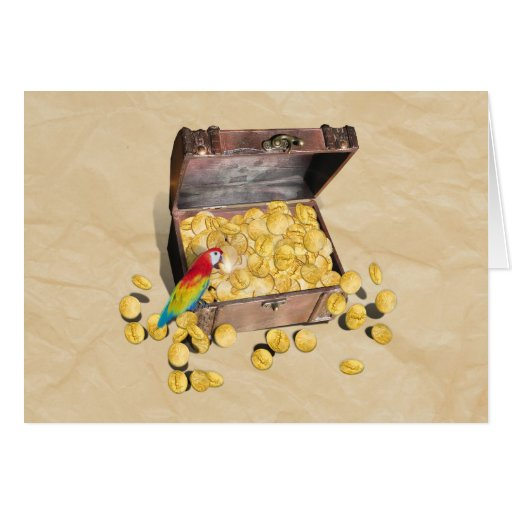 Pirate's Treasure Chest on Crinkle Paper Greeting Card