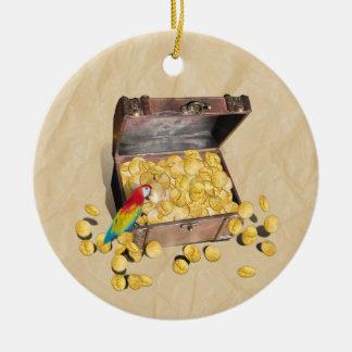 Pirate's Treasure Chest on Crinkle Paper Ceramic Ornament