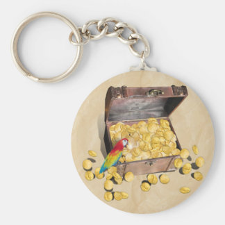 Pirate's Treasure Chest on Crinkle Paper Keychain