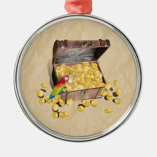 Pirate's Treasure Chest on Crinkle Paper Round Metal Christmas Ornament