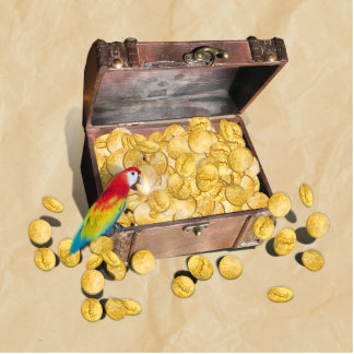 Pirate's Treasure Chest on Crinkle Paper Photo Sculptures