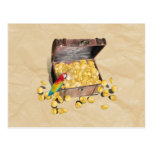 Pirate's Treasure Chest on Crinkle Paper Postcard