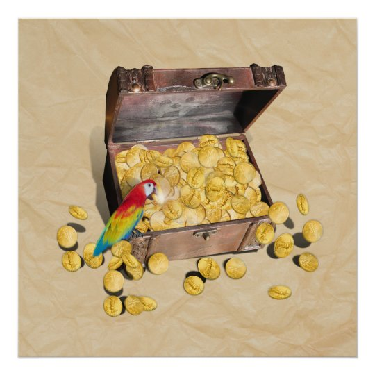 Pirate's Treasure Chest on Crinkle Paper Poster