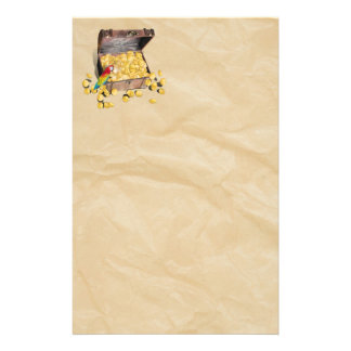 Pirate's Treasure Chest on Crinkle Paper Stationery Paper