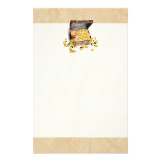 Pirate's Treasure Chest on Crinkle Paper Customized Stationery