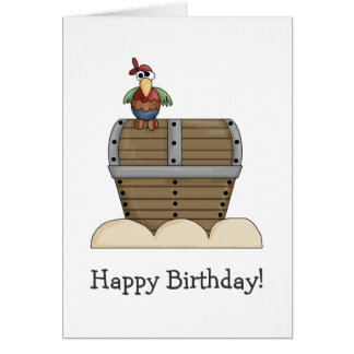 Pirates · Treasure Chest & Parrot Greeting Card