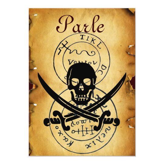 PIRATES TREASURE MAPS ,SKULL AND CROSSED SWORDS CARD
