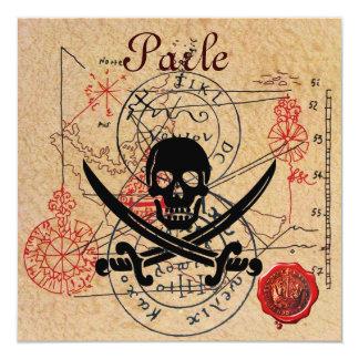PIRATES TREASURE MAPS ,SKULL AND CROSSED SWORDS CARD