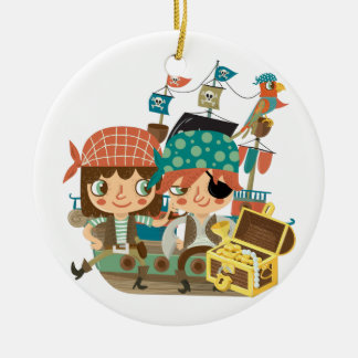 Pirates With Treasure Double-Sided Ceramic Round Christmas Ornament