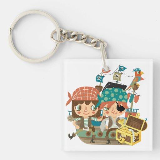 Pirates With Treasure Square Acrylic Key Chain