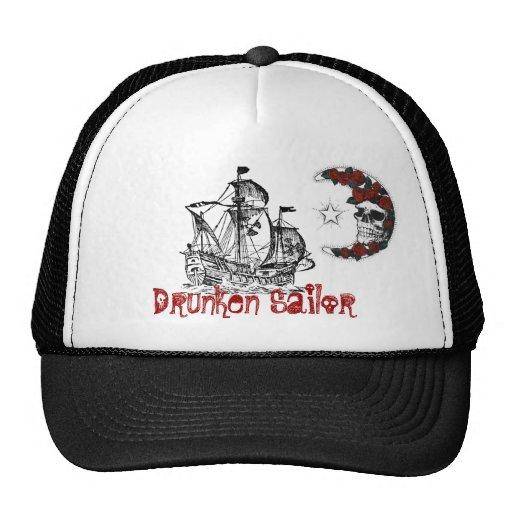 PirateShip, luna-cráneo-rosas, marinero borracho Gorro De Camionero