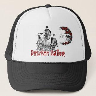 PirateShip, moon-skull-roses, Drunken Sailor Trucker Hat