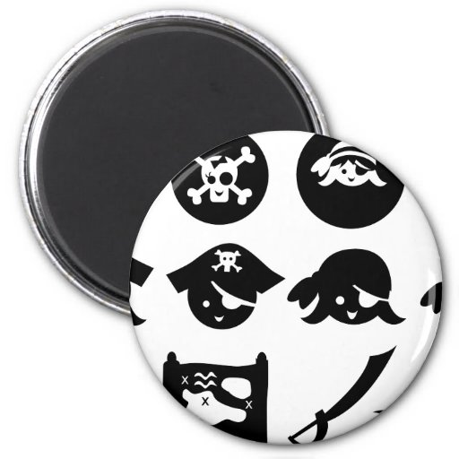 PirateSilhouetteAllA 2 Inch Round Magnet