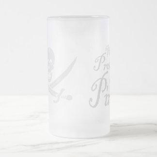 PirateWarning,Mug Frosted Glass Beer Mug
