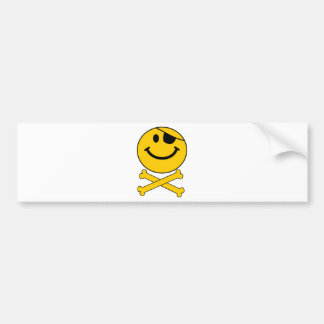 Piratey eyepatch Smiley Skull & Cross Bones Bumper Sticker