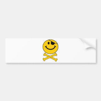 Piratey eyepatch Smiley Skull Cross Bones Bumper Sticker