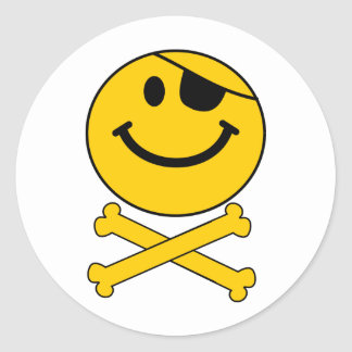 Piratey eyepatch Smiley Skull & Cross Bones Classic Round Sticker