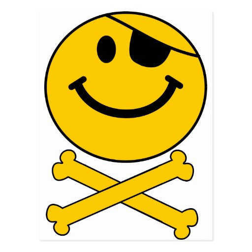 Piratey eyepatch Smiley Skull & Cross Bones Postcard