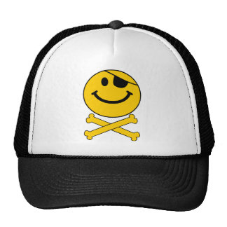 Piratey eyepatch Smiley Skull & Cross Bones Trucker Hat