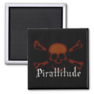 Pirattitude Blood Jolly Roger 2 Inch Square Magnet