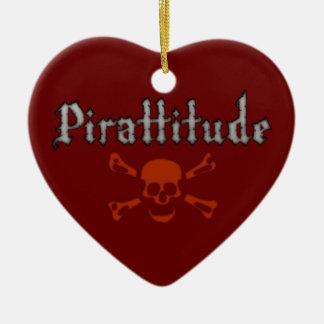 Pirattitude Blood Jolly Roger Ceramic Ornament