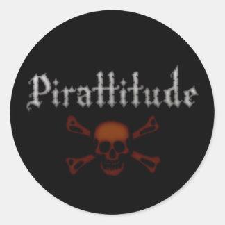 Pirattitude Blood Jolly Roger Classic Round Sticker