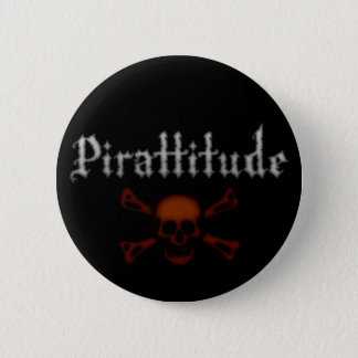 Pirattitude Blood Jolly Roger Pinback Button