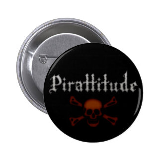 Pirattitude Blood Jolly Roger Pinback Button