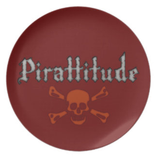 Pirattitude Blood Jolly Roger Plate