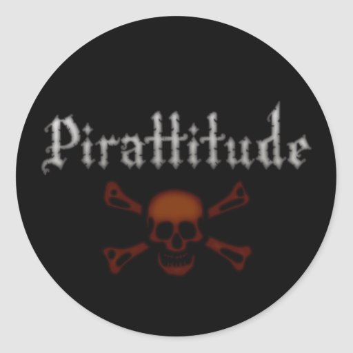 Pirattitude Blood Jolly Roger Round Stickers
