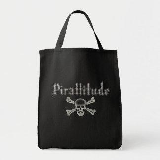 Pirattitude Bone Jolly Roger Grocery Tote Bag