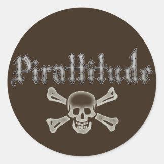 Pirattitude Bone Jolly Roger Classic Round Sticker