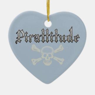 Pirattitude Bone Jolly Roger Double-Sided Heart Ceramic Christmas Ornament