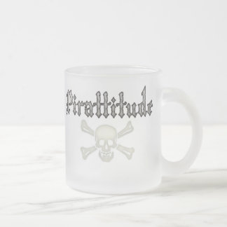 Pirattitude Bone Jolly Roger Frosted Glass Coffee Mug
