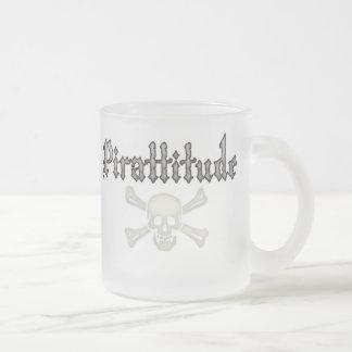Pirattitude Bone Jolly Roger 10 Oz Frosted Glass Coffee Mug