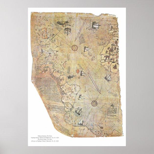 Piri Reis' World Map Posters | Zazzle.com