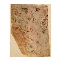 Piri Reis World Map Wood Print