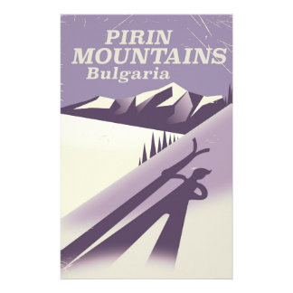 Pirin Mountains Bulgaria ski poster Stationery