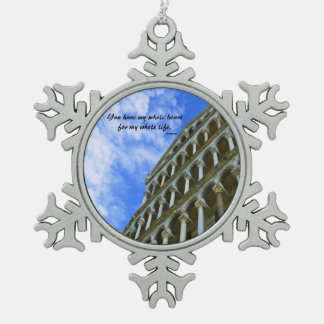 Pisa Cathedral with Love Quote Snowflake Pewter Christmas Ornament