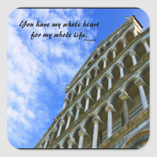 Pisa Cathedral with Love Quote Square Sticker