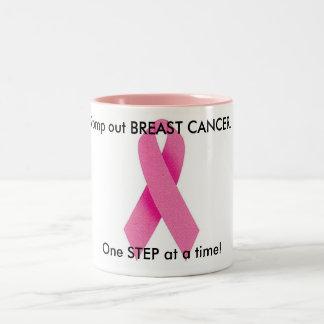 Pisa fuerte hacia fuera el cáncer de pecho taza de dos tonos