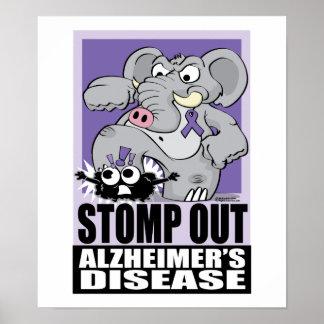 Pisa fuerte hacia fuera la enfermedad de Alzheimer Posters