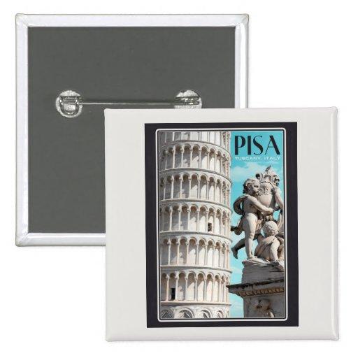 Pisa - la torre inclinada pin cuadrada 5 cm