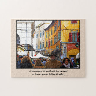 Pisa Market In Alley with Love Quote Jigsaw Puzzle